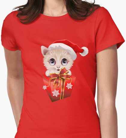 Kitten Christmas Santa with Big Red Gift Womens Fitted T-Shirt
