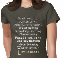 Librarian white text Womens Fitted T-Shirt