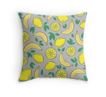 Pattern with bananas and lemons Throw Pillow