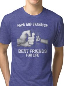 Papa and Grandson best friends for life Xmas Tri-blend T-Shirt