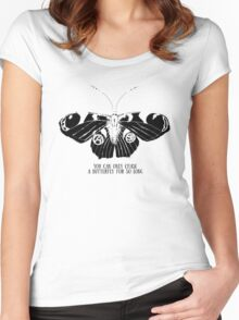 Butterfly; sketch; freehand drawing Women's Fitted Scoop T-Shirt