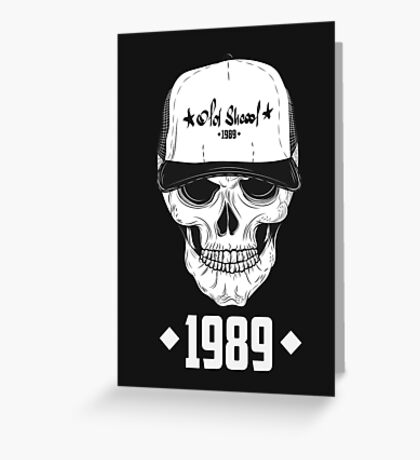 Skull with modern street style attributes. Vector illustration Greeting Card