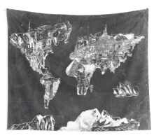 world map black and white Wall Tapestry