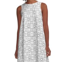 Black and white texture. Abstract pattern of squares. Decorative ornament. A-Line Dress