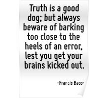 Truth is a good dog; but always beware of barking too close to the heels of an error, lest you get your brains kicked out. Poster