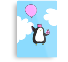 Penguin with Balloon Metal Print