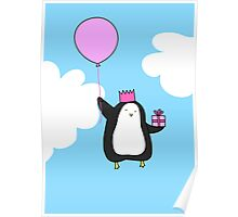 Penguin with Balloon Poster