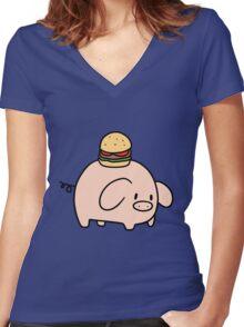 Hamburger Piggy Women's Fitted V-Neck T-Shirt