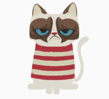 Grumpy Cat with Red Sweater Kids Tee