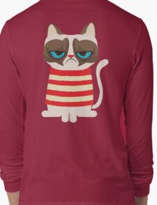 Grumpy Cat with Red Sweater Long Sleeve T-Shirt