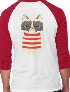 Grumpy Cat with Red Sweater Men's Baseball ¾ T-Shirt