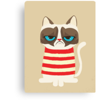 Grumpy Cat with Red Sweater Canvas Print