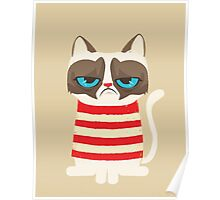 Grumpy Cat with Red Sweater Poster