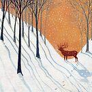 Deer in Winter Wood by vickymount