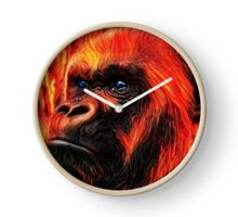 Ape Abstract Red Clock