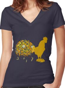 Festive 2017 Chinese Lunar New Year Of The Rooster Women's Fitted V-Neck T-Shirt