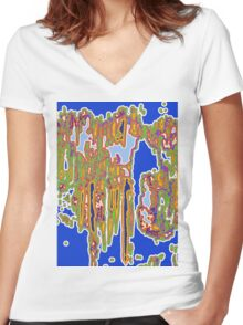 Electric Funk  Women's Fitted V-Neck T-Shirt