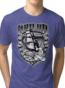 Nautical Vintage Sailor Old Ship in Big Seas Tri-blend T-Shirt