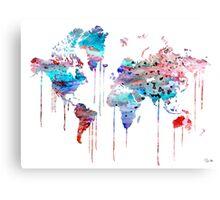 Blue WATERCOLOR MAP Canvas Print