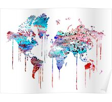 Blue WATERCOLOR MAP Poster