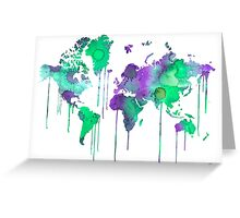 Green WATERCOLOR MAP Greeting Card
