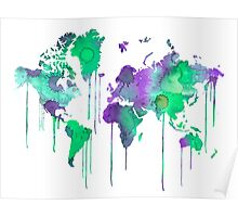 Green WATERCOLOR MAP Poster