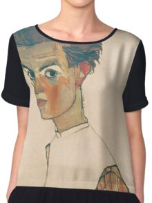 Egon Schiele - Self-Portrait with Striped Shirt 1910  Expressionism  Portrait Chiffon Top