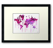 Purple WATERCOLOR MAP Framed Print
