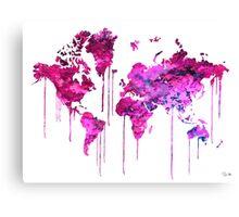Purple WATERCOLOR MAP Canvas Print