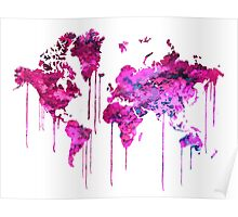 Purple WATERCOLOR MAP Poster