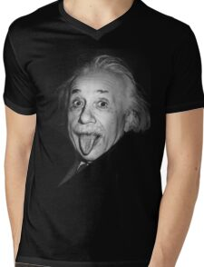 Albert Einstein Genius Tongue Funny Mens V-Neck T-Shirt