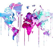 Blue Purple WATERCOLOR MAP by Watercolorsart