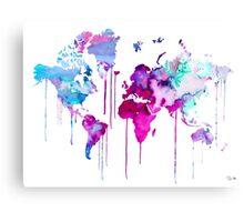 Blue Purple WATERCOLOR MAP Canvas Print