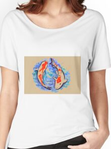 Watercolor painting of koi fish in water Women's Relaxed Fit T-Shirt