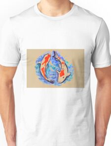 Watercolor painting of koi fish in water Unisex T-Shirt