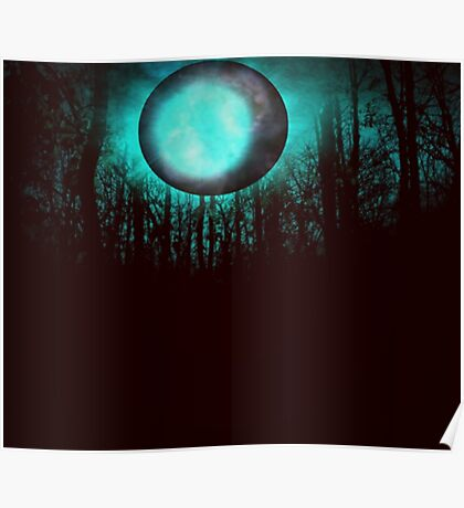 GALAXY, MOON, TREES. Poster