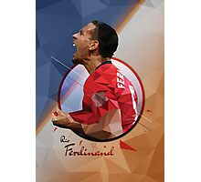 Rio Ferdinand - Manchester United - Low Poly Design  Photographic Print