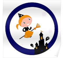 Cute Witch girl flying around Halloween castle Poster