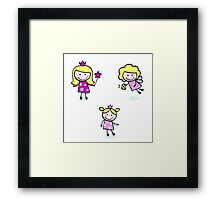 Cute christmas kids : Doodle characters Framed Print
