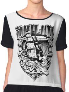 Nautical Vintage Sailor Old Ship in Big Seas Chiffon Top