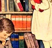 Vintage Children Reading Library Books  Sticker