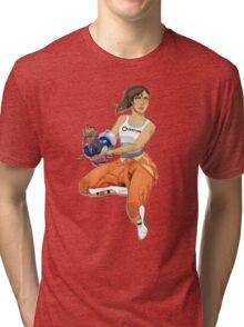 Chell and Potato GLADoS Tri-blend T-Shirt
