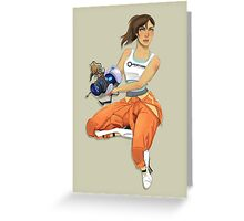 Chell and Potato GLADoS Greeting Card