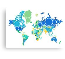 abstract world map with colorful dots Canvas Print