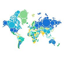 abstract world map with colorful dots Photographic Print