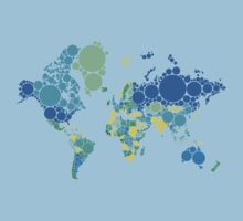 abstract world map with colorful dots Kids Clothes