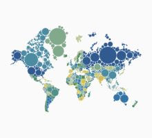abstract world map with colorful dots T-Shirt