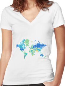 abstract world map with colorful dots Women's Fitted V-Neck T-Shirt
