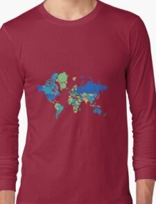 abstract world map with colorful dots Long Sleeve T-Shirt