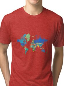 abstract world map with colorful dots Tri-blend T-Shirt